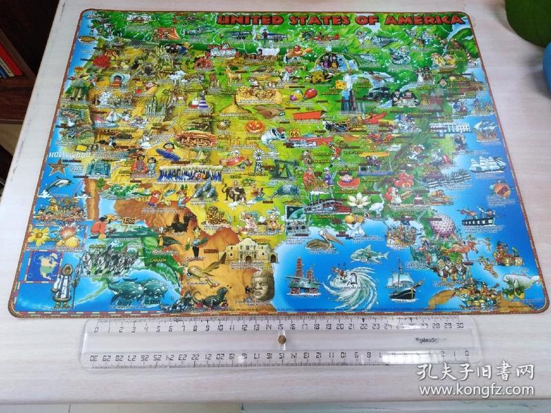 美国卡通地图  尺寸45.5cm X 35cm Childrens Illustrated Map of the America
