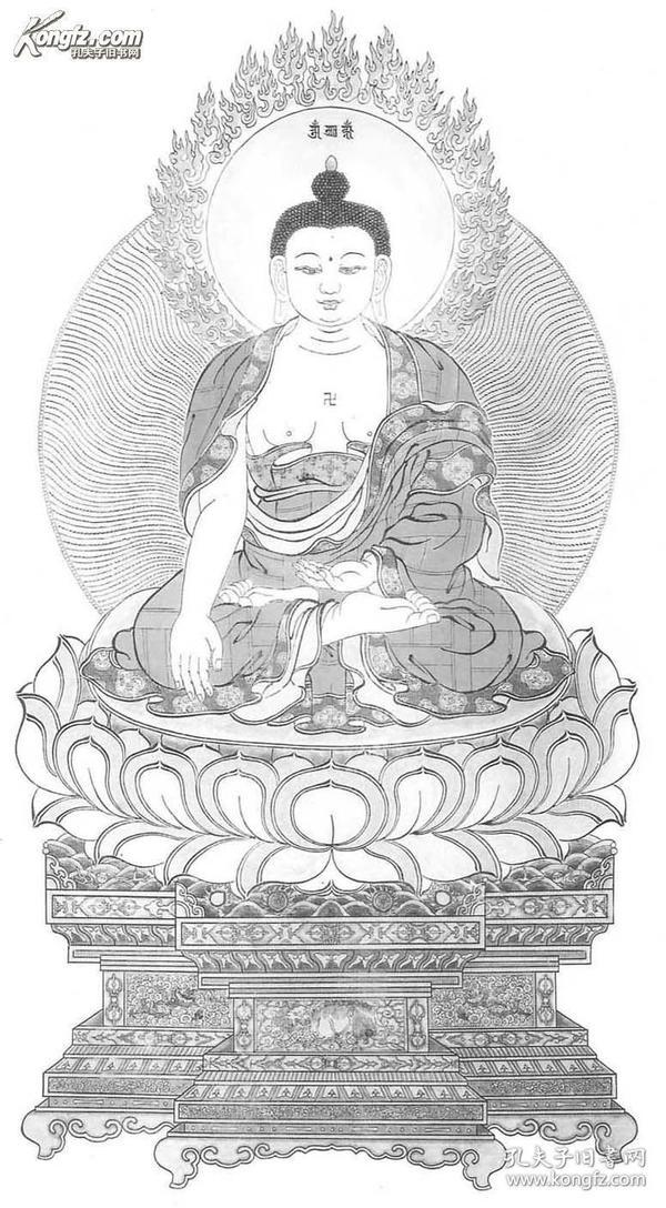 释迦牟尼像立轴,手工雕版宣纸印刷作品,国家级雕版大师陈义时力作,可签名出售