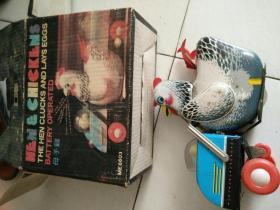 铁皮玩具母子鸡(有原包装盒)