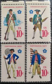 美国1975年  独立200周年-早期军装    4全新 实拍