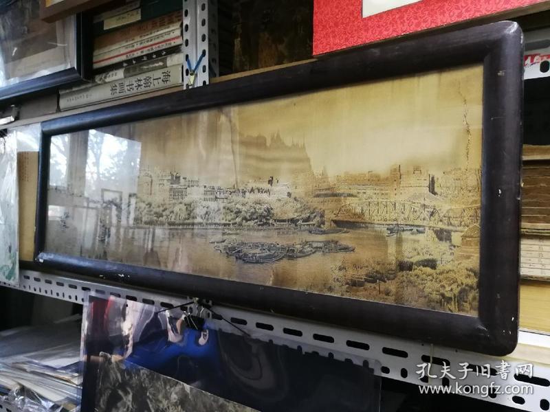 民国都锦生手工丝绣上海外滩全景图原框原装。