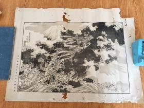 明治日本印刷《富士山湖双龙图》,江户著名画家【幸野楳岭】绘