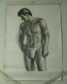 """鲁美教师素描作品""""男人体"""""""