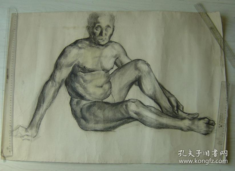 """鲁美教师素描作品""""老年男子人体"""""""