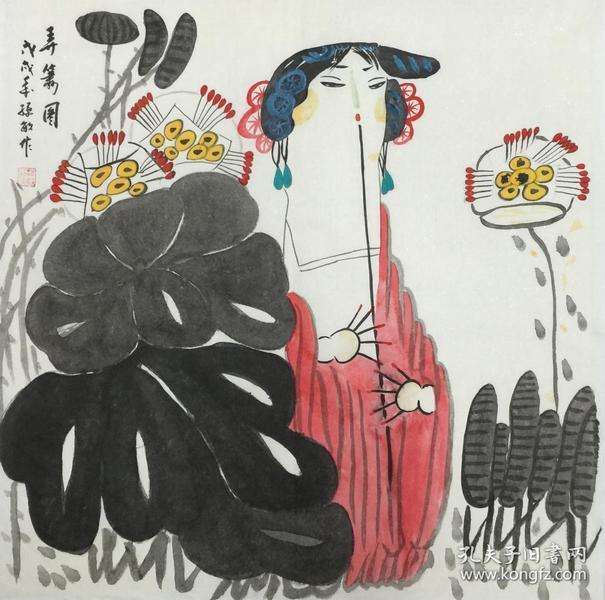 【保真】.【孙敏】中国书画家协会会员、中国美术家协会宁夏分会会员、手绘四尺斗方人物作品(68*68CM)(弄箫图)。