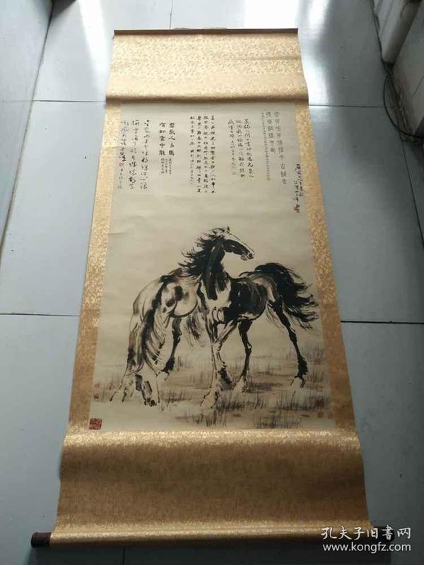 少见的名人徐悲鸿手绘双马风景老画