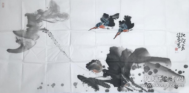 ☀【本店没有仿品没有印刷品 全部保真】【准中美协】甘肃美协会员、中国人民大学画院助理导师 民勤美协主席、书协主席 李江年三尺水墨大写意国画15《秋趣》(50×100CM)。
