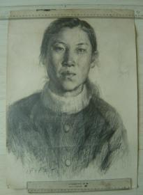"""鲁美教师素描作品""""女子肖像"""""""