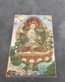 收来的老织锦藏传佛教织锦唐卡软裱框