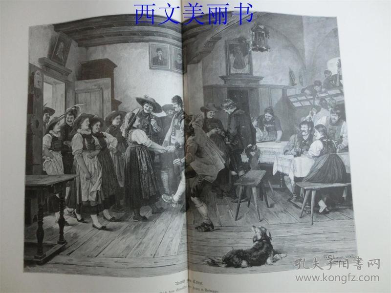 【现货 包邮】1883年巨幅木刻版画《舞会开始》(Antritt zum Tanze) 尺寸约54.2*40.8厘米 (货号 18027)
