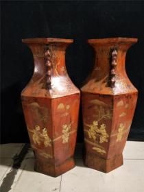 老家具收藏 老漆器手绘描金  婴戏图 人物 六角双耳花瓶一对 清代家居家装摆件