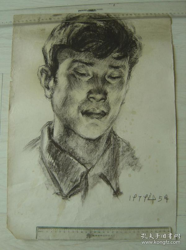 """鲁美教师素描作品""""碳铅笔绘制男子头像"""""""