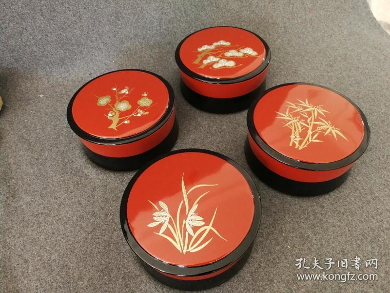 日本松竹梅兰纹漆器带盖大钵