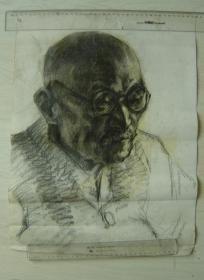 """鲁美教师素描作品""""碳铅笔绘制老者头像"""""""