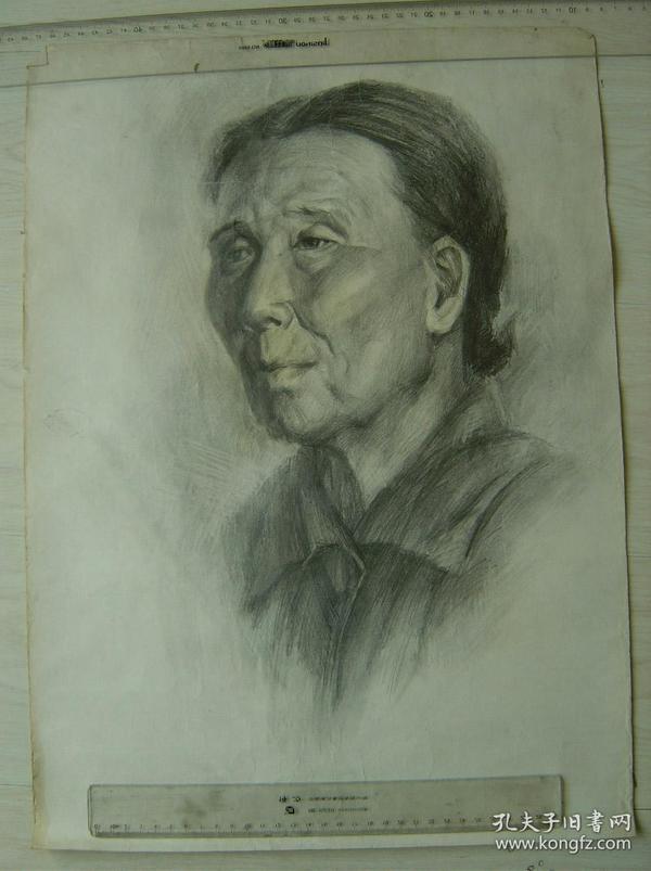 """鲁美教师素描作品""""老年妇女头像"""""""