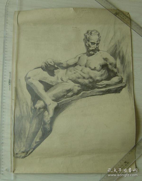 """鲁美教师素描作品""""石膏男子全身像"""""""