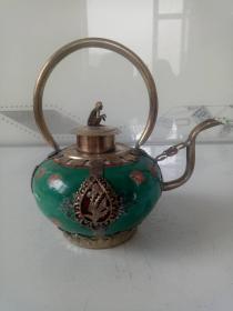 景泰蓝铜胎掐丝珐琅苗银包瓷水壶·白铜瓷壶·瓷壶·酒壶摆件.
