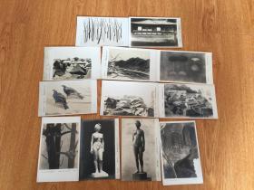 民国日本美术院展绘画、雕塑作品12枚合售,烧付版写真