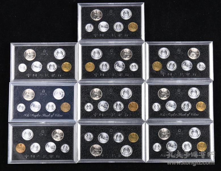 1991年中国硬币六枚一套,共60枚十套 (带盒)