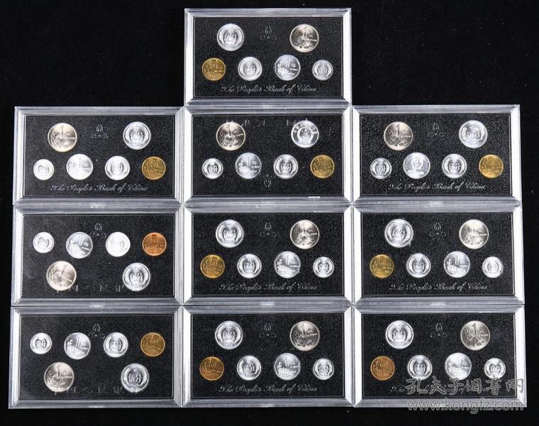 1991年中国硬币六枚一套, 共60枚十套 (带盒)