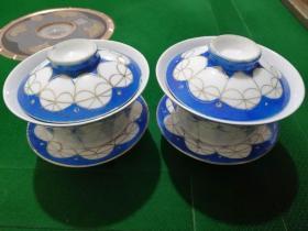 60年代蓝釉盖碗(一对全品)
