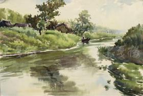 著名水彩画艺术家、上海水彩画研究会会长 张英洪 1962年作水彩画《泛舟倩影》一幅(尺寸:26.5*38cm)