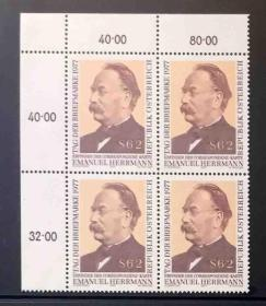 奥地利邮票 1977年 邮票日 邮政明信片发明人 埃马努埃尔赫尔曼 雕刻版 1全新 直角方连