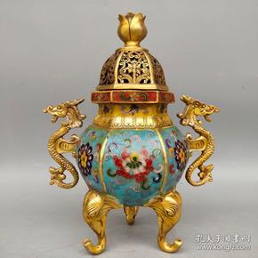 景泰蓝双龙耳六角熏香炉摆件尺寸如图,重1530克