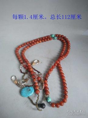 清代传世老南红玛瑙镶嵌水晶绿松石沉香木朝珠