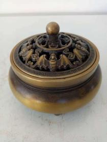 纯铜香炉·熏香炉·五福临门熏香炉·底部浮雕双龙图案·家居摆件·重量499克.