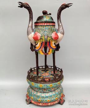 景泰蓝掐丝珐琅彩三仙鹤熏香炉摆件高52厘米 宽28厘米,重6840克