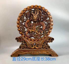民国时期黄杨木^_^龙凤成翔^_^摆件一只。包浆厚重,器型美观,雕工精细。
