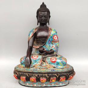 景泰蓝佛像  释迦牟尼药师佛一尊尺寸如图,重3010克