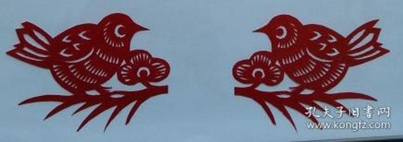 凤翔传统民间剪纸--窗花3(1对)