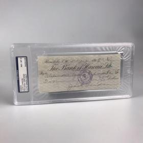 【杰克·伦敦亲笔签名支票】1915年美国著名作家杰克·伦敦亲笔签名支票一件,附美国权威鉴定机构PSA/DNA鉴定并评级8级,保真,官网可查,支票签于1915年7月4日,落款杰克伦敦亲笔签名,珍贵藏品【国内现货】