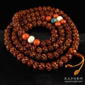 西藏寺院收老纯手工雕刻鹰骨108克佛珠  重199克   直径1.5厘米