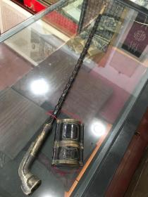 民俗文化— 清中期老煙槍一套,通長79cm