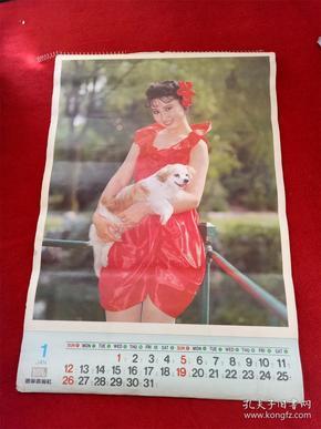 怀旧收藏挂历年历1992《美女与名犬》12月全辽宁美术出版社