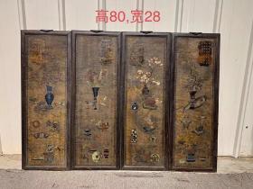 古旧红木框四扇屏,双面工尺寸单片高80cm,宽28cm,保存完好包浆自然。