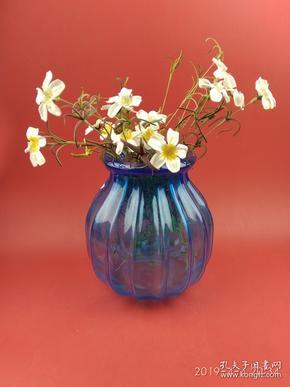 海洋蓝色琉璃摆件 花瓶