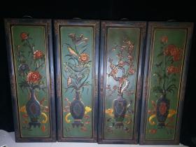 早期中堂挂屏一套 漆器屏风 木胎漆器浮雕彩绘春夏秋冬花开富贵挂屏