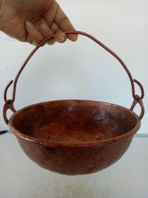 纯紫铜铜锅·紫铜铜梁铜锅·老物件·包老保真·重量396克.