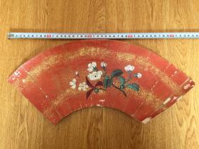 清代日本彩绘《花卉图》扇面一幅