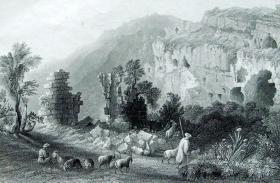"""1850年宗教题材钢板画系列—《塞琉西亚》英国风景地貌画家 """"威廉·亨利·巴特莱特W.H.Bartlett""""作品26x21cm"""