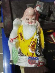 上彩石膏像福禄寿~老寿星像