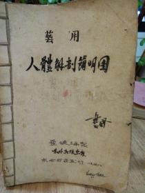 手抄本。艺用人体解剖简明图漫数编制东北书店发行。手抄本。