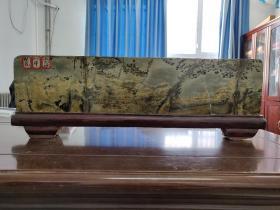 中华国画石 (草花石)红木托巨幅摆件 繁花似锦风光好