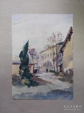 南京工学院建筑名家水彩画两幅