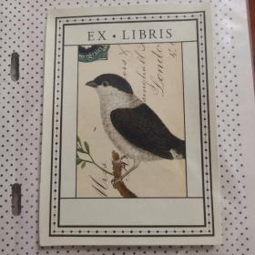 鸟类 动物 藏书票 exlibris 从一本老书上取下 现在粘在一张透明纸上,可以小心揭下来继续用。