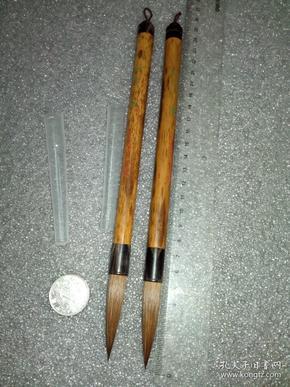 日本回流老毛笔《贡品,紫云》山马,大号1支。桐华笔店谨制。顶腕牛角,老凤眼竹。(所标价格为单支,零售部分都是选的花好且品貌好的,随机发货)